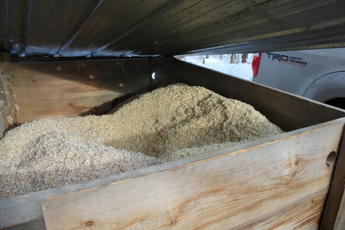 Saved wood chips are sent to  local farms to be used by horses.