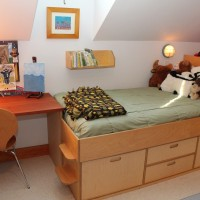 Custom lofted beds, creative storage spaces and homework areas