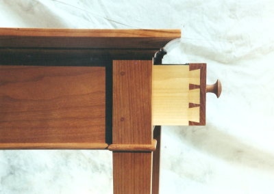 Side table drawer with hand cut dovetailed joints